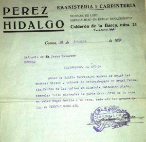 Presupuesto andas Jesús Nazareno 1942